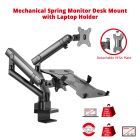 Aluminum Mechanical Spring Slim Monitor Arm with Laptop Holder