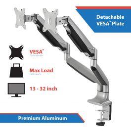 High Premium Aluminum Gas Spring Desk Mount Dual Monitor