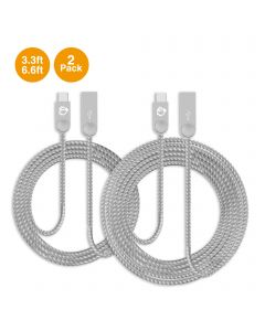 Zinc Alloy USB-C to Type-A Charging & Sync Braided Cable Bundle - 3.3ft & 6.6ft