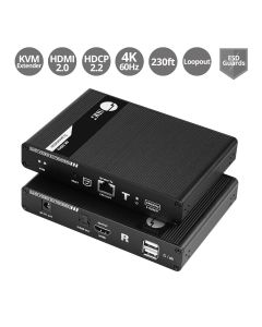 HDMI 2.0 KVM Over Cat6 Extender with Loopout & S/PDIF