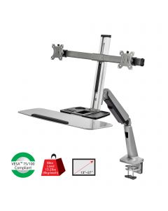 Standing Desk Converter With Height Adjustable Keyboard & Counterbalance Monitor Arm