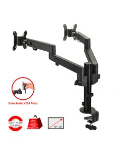 Single Pole Multi-Angle Articulating Replaceable Dual Arm Dual Monitor Desk Mount