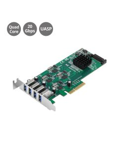 LP 4-Port SuperSpeed USB 3.0 PCIe Card - Quad Core