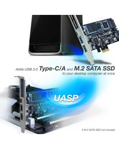 USB 3.0 Type-C & Type-A 3-Port PCIe Card with M.2 SATA SSD Adapter