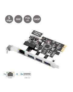 USB 3.0 3-Port Hub with LAN PCIe Host Card