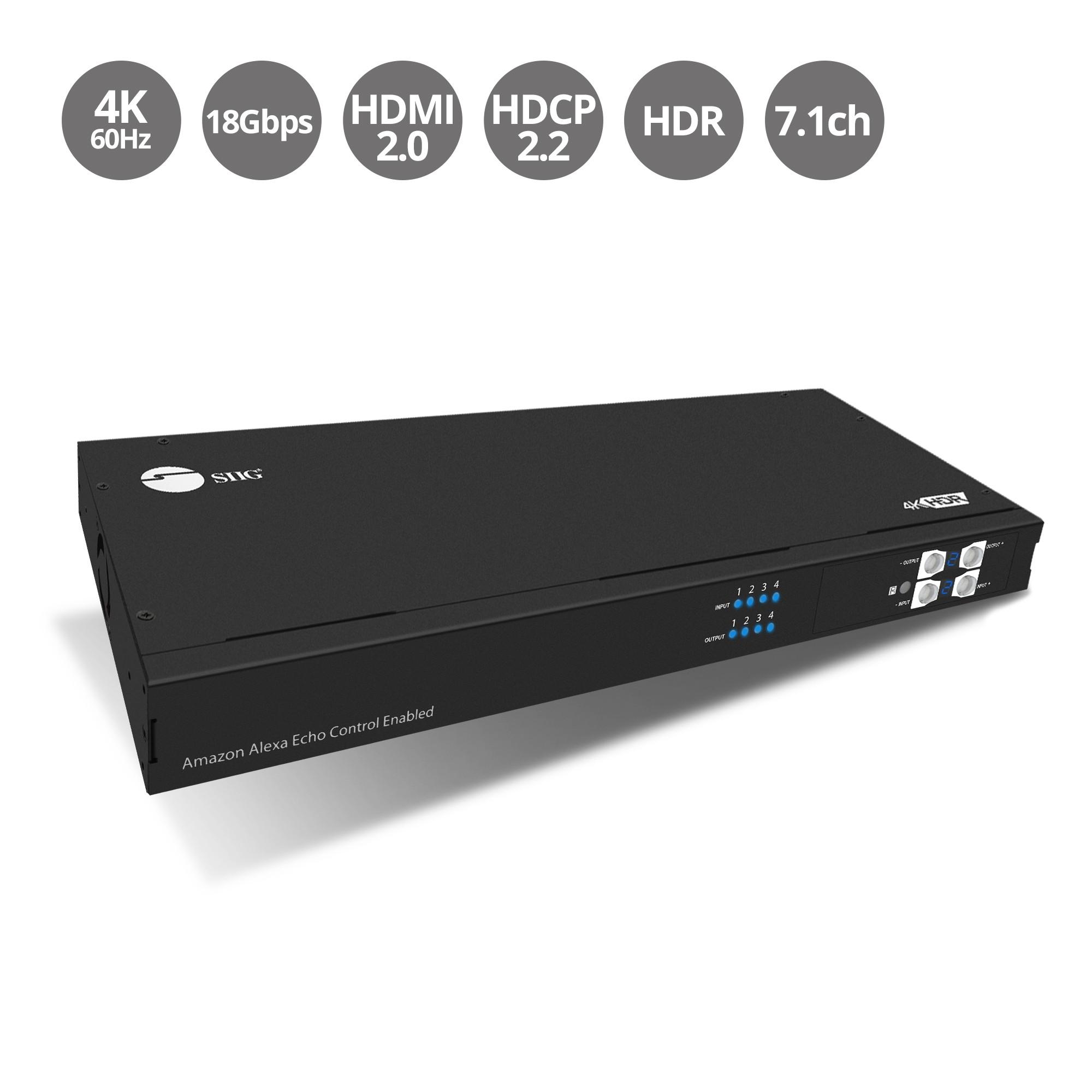 HDMI 2.0 4x4 Matrix with Amazon Echo Control Enabled